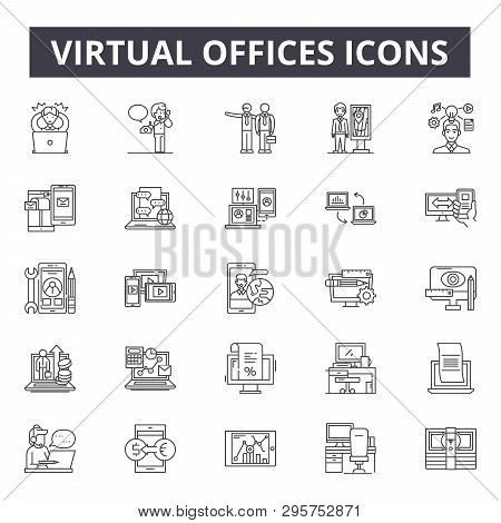 Virtual Offices Line Icons, Signs Set, Vector. Virtual Offices Outline Concept, Illustration: Office