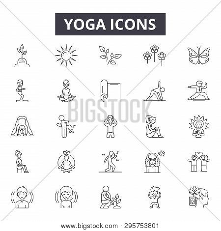 Yoga Line Icons, Signs Set, Vector. Yoga Outline Concept, Illustration: Yoga, Body, Exercise, Health