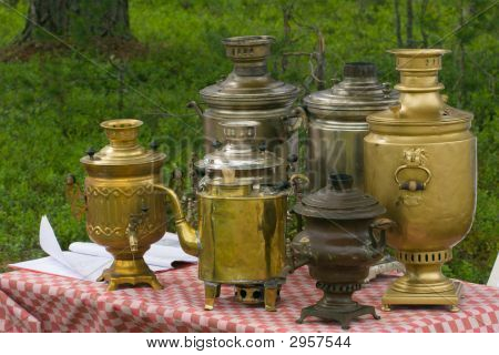 Samovars On Table