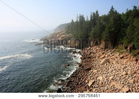 The Rugged Coast Of Acadia National Park, Maine, On A Sunny Summer Morning After The Lifting Of Much