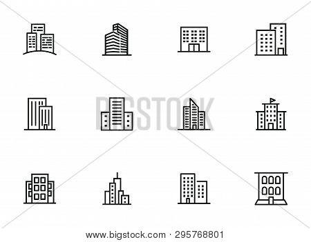 City Buildings Line Icon Set. Office Building, Apartment House, Business Area. Urban Life Concept. C