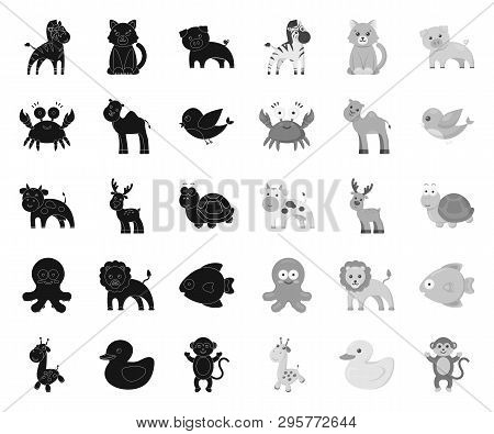 An Unrealistic Black.mono Animal Icons In Set Collection For Design. Toy Animals Vector Symbol Stock