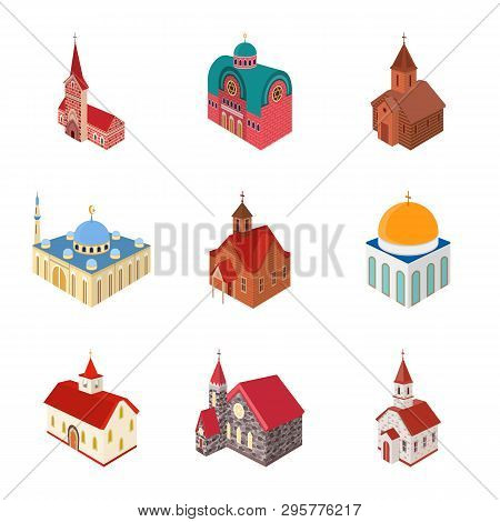 Vector Illustration Of Architecture And Building Logo. Set Of Architecture And Clergy Stock Vector I