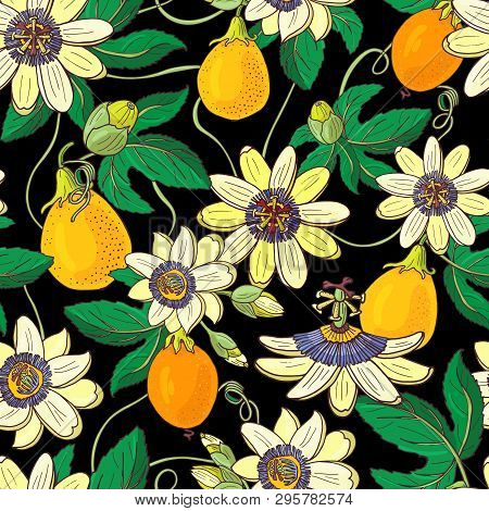 Passionflower Passiflora,passion Fruit On A Black Background.floral Seamless Pattern.big Bright Exot