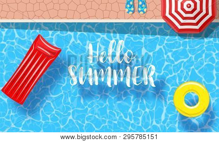Inflatable Mattress Floating And Yellow Pool Rings In A Swimming Pool. Poster Template For Summer Ho