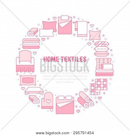 Home Textiles Circle Template With Flat Line Icons. Bedding, Bedroom Linen, Pillows, Sheets Set, Bla