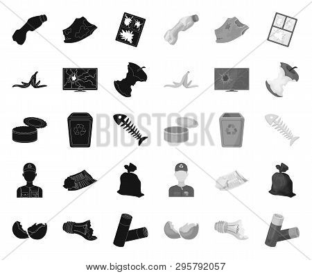 Garbage And Waste Black.mono Icons In Set Collection For Design. Cleaning Garbage Vector Symbol Stoc