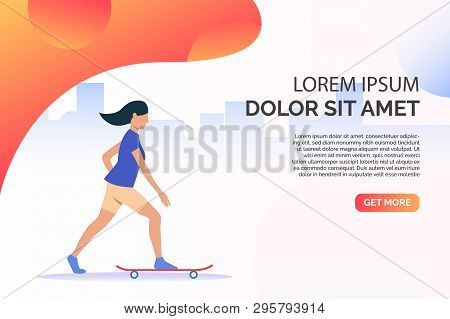Sporty Woman Riding Skateboard With Sample Text. Activity, Workout, Lifestyle Concept. Presentation