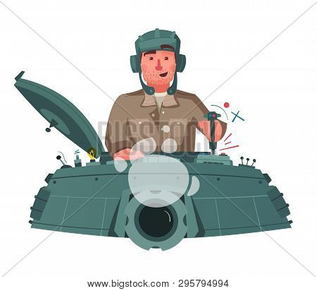 Character Playing Game On A Panzer Desk. Cartoon Vector Illustration