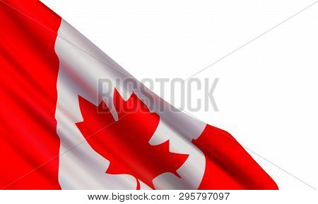 Realistic Flag Of Canada Isolated On White Background. Vector Template For Canada Day, Victoria Day,
