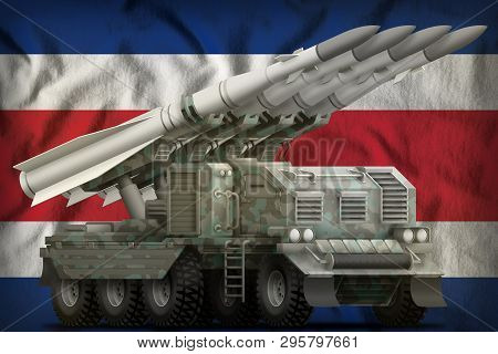 Tactical Short Range Ballistic Missile With Arctic Camouflage On The Costa Rica Flag Background. 3d