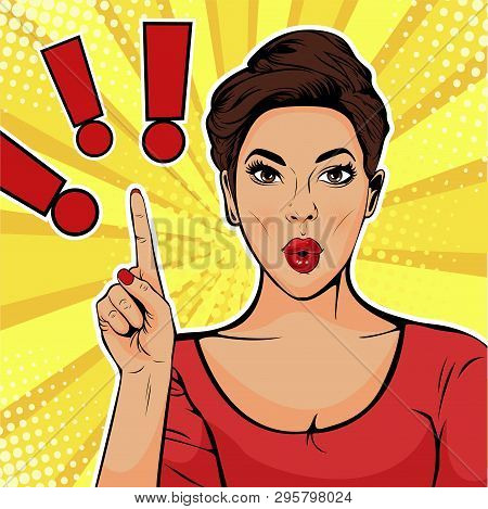 Exclamation Point And Surprised Woman. Colorful Vector Illustration In Pop Art Retro Comic Style