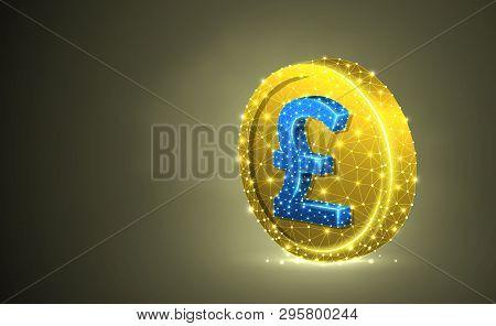 Japanese Yen. Golden Coin Colorful 3d Illustration. Colorful Polygonal Vector Business, Money, Finan