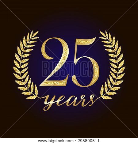 Sparkling Glitter 25 Anniversary. 25 Th Years Old Logotype. Isolated Elegant Abstract Nominee Graphi