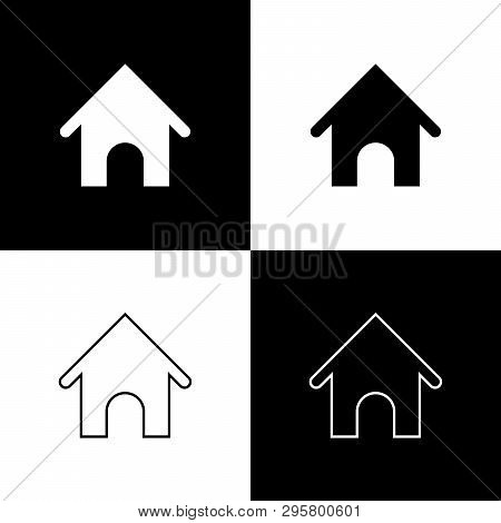 Set Dog house icons isolated on black and white background. Dog kennel. Vector Illustration poster