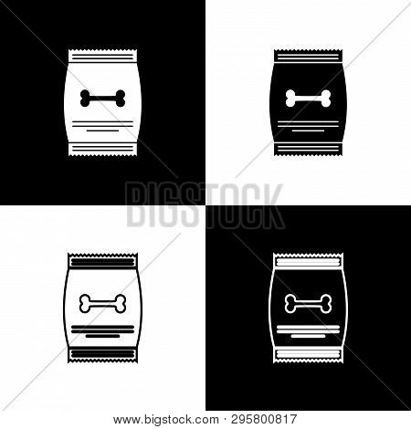Set Bag Of Food For Pet Icons Isolated On Black And White Background. Food For Animals. Dog Bone Sig
