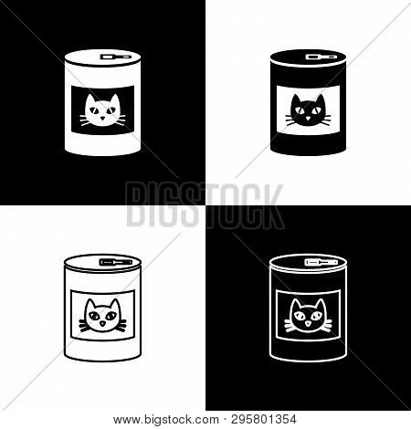 Set Canned Food For Cat Icons Isolated On Black And White Background. Food For Animals. Pet Dog Food