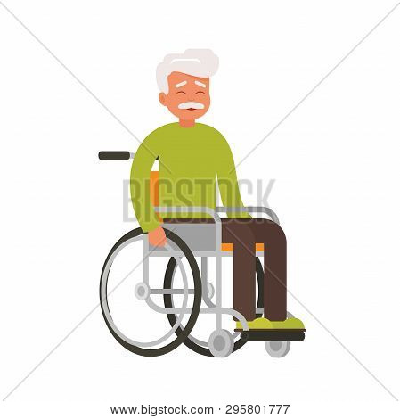 Older Happy Person Sits In A Wheelchair On A White Background. Smiling Male Character With Physical