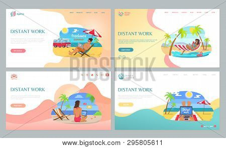 People Working On Beach, Sitting On Sand With Laptop, Distant Work In Summertime. Freelancers Wearin