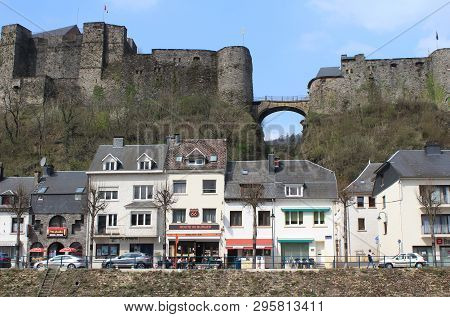 Bouillon, Belgium, 7 April 2019:  View Of The Town And Hill Top Castle Of Bouillon In The Province O