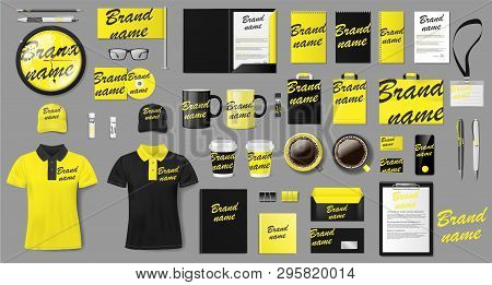 Corporate Identity Template Design. Branding Yellow And Black Business Stationery Mockup For Shop. S