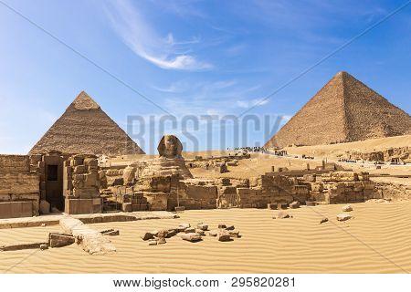 The Great Pyramids Of Giza Complex: The Sphinx, The Pyramid Of Chephren, The Temple And The Pyramid
