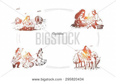Oracle, Fortune Telling, Future Divination, Young Women In Dresses Dancing, Man Playing Guitar Banne