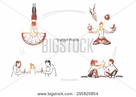 People Eating Organic Food, Fruits And Vegetables, Healthy Lifestyle, Woman Sitting In Lotus Pose Ba
