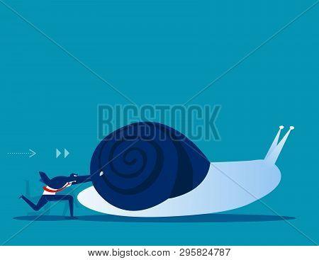 Businessman Pushing Snail. Concept Business Vector Illustration.