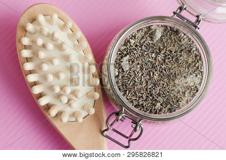 Wooden Brush For Anticellulite Treatment And Body Scrub With Salt And Lavender In A Jar. Body Peelin