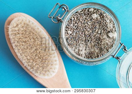 Brush With Natural Bristle For Dry Anticellulite Body Massage And Scrub With Salt And Lavender On Bl