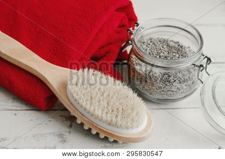 Wooden Brush With Natural Bristle For Dry Body Massage, Red Cotton Towel And Homemade Scrub With Sal