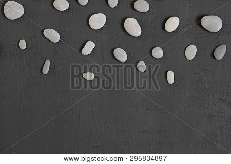Spa Background With Grey Stones, Black Modern Background, Cover, Template With Round Gray Stones, Fl