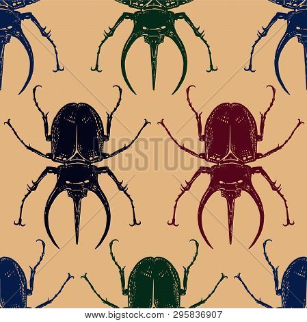 Color Beetles Isolated On Gold Background. Seamless Pattern With Insect. Sketch Of Bug. Realistic Dr