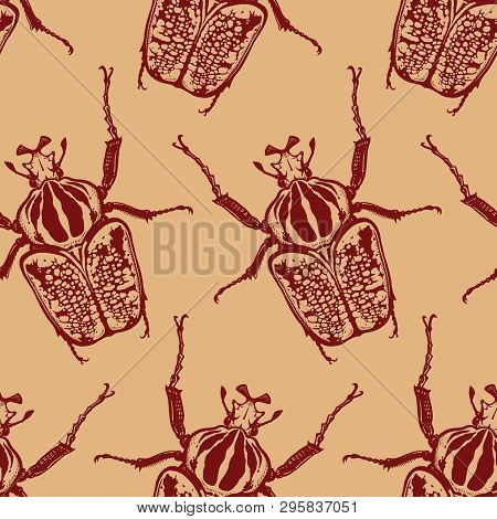 Red Beetles Isolated On Gold Background. Seamless Pattern With Insect. Sketch Of Bug. Realistic Draw