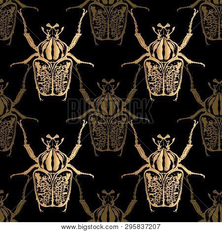 Goliath Beetle. Gold Foil Print On Black Background. Seamless Pattern With Insect. Sketch Of Bug. Re
