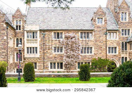 Princeton, Usa - April 07, 2019: Princeton Campus In Nj. Spring In Princeton Village. Historic Build