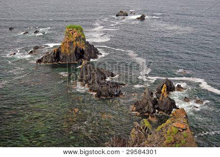 Jagged Rocks On The Ocean Coast