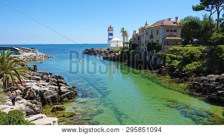 Scenic View In Cascais, Santa Marta Lighthouse And Museum, Lisbon District, Portugal