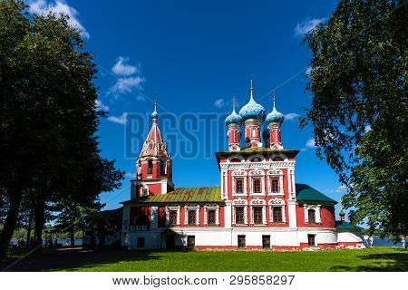 Uglich, Russia - August 11, 2018 : Church Of St Dmitry On The Blood. Beautiful Orthodox Church On Th