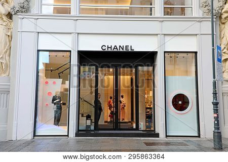 Vienna, Austria - January 8, 2019:  A Front Exterior View Of The Chanel Store In Vienna Main Street,