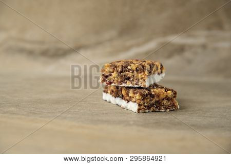 Muesli And Cereal Bar On Marble Stone Background
