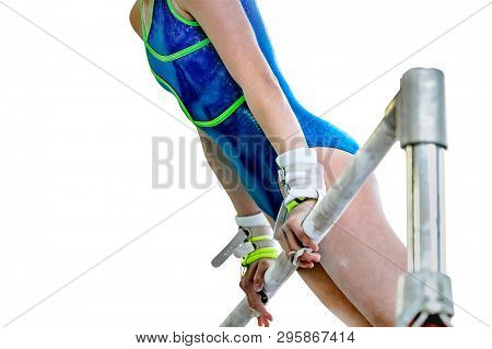 isolated woman gymnast athlete exercise uneven bars in gymnastics poster