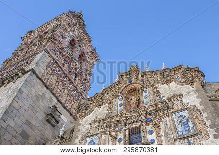 Church Of San Bartolome At Jerez De Los Caballeros, Badajoz, Spain. Main Facade And Tower