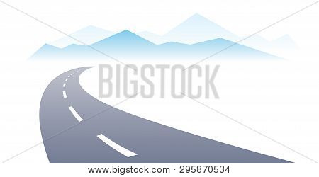 Country Road Curved Highway Vector Perfect Design Illustration. The Way To Nature, Mountains And Roc
