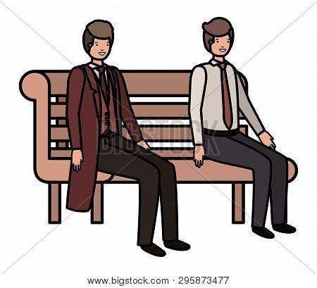 Businessmen Sitting In Park Chair Avatar Character Vector Illustration Desing