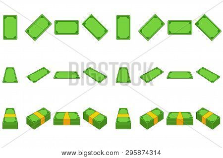 Animation Money Paper Step By Step. Cartoon Template Wad Of Cash In Different Positions Isolated On