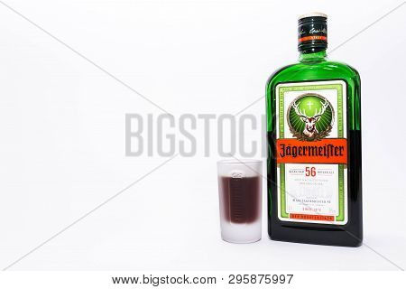 Miercurea Ciuc, Romania- 17 April 2019: Bottle And Cup Of  Jagermeister On White Background.