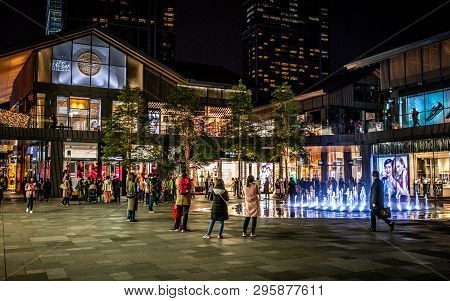22 November 2017, Chengdu Sichuan China : Nightscape Of Sino-ocean Taikoo Li Neighborhood Of Chengdu