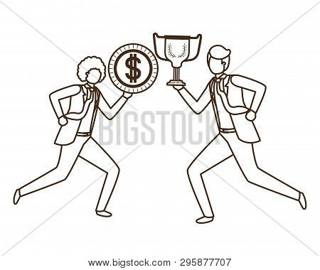 Businessmen With Trophy And Coin Character Vector Illustration Desing